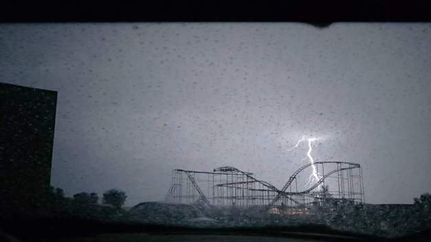 Lightning flash at the drive-in